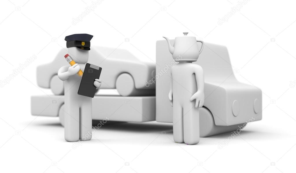 Polizist Abschleppen Auto des Dummy-Kopf-Treibers — Stockfoto ...