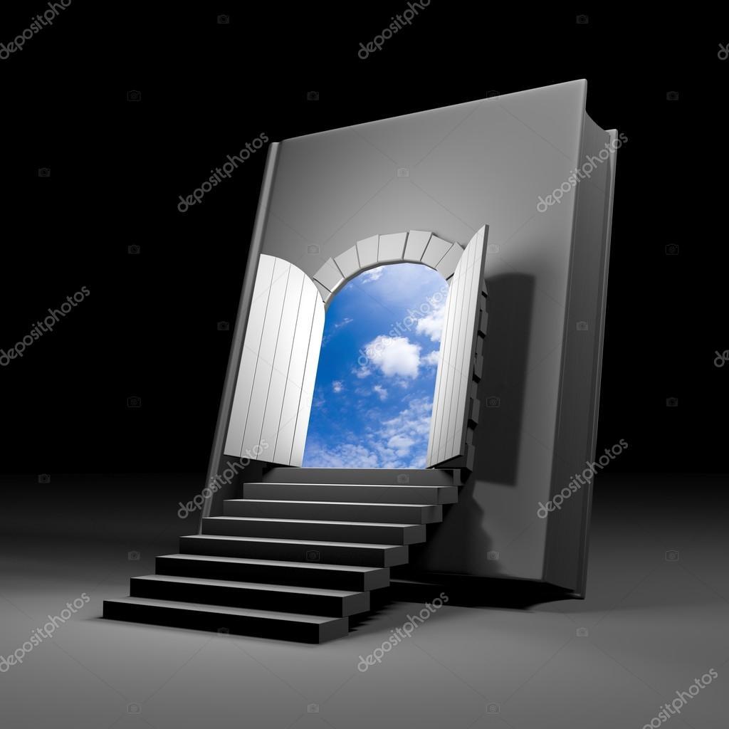 Książka z drzwi na przyszłość — Zdjęcie stockowe