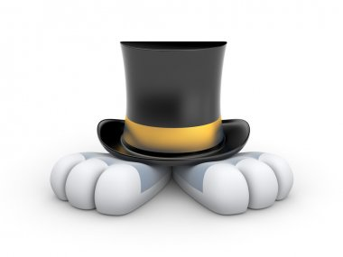 Rabbit in the hat with gold stripe