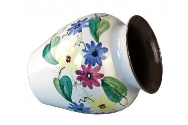 Ceramic vase with colorful floral