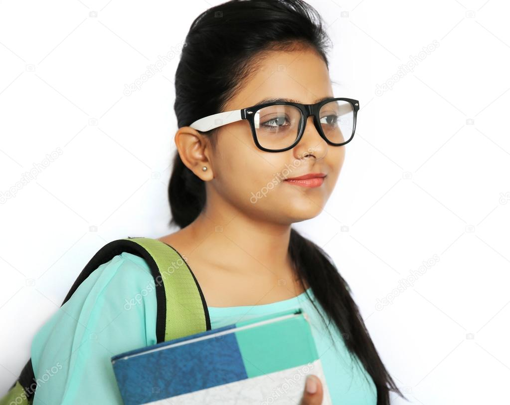 a young beautiful indian college student, isolated white backgro