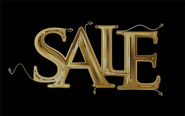 Gold Sale Text Made Modern Trendy Design Template . Vector design icon