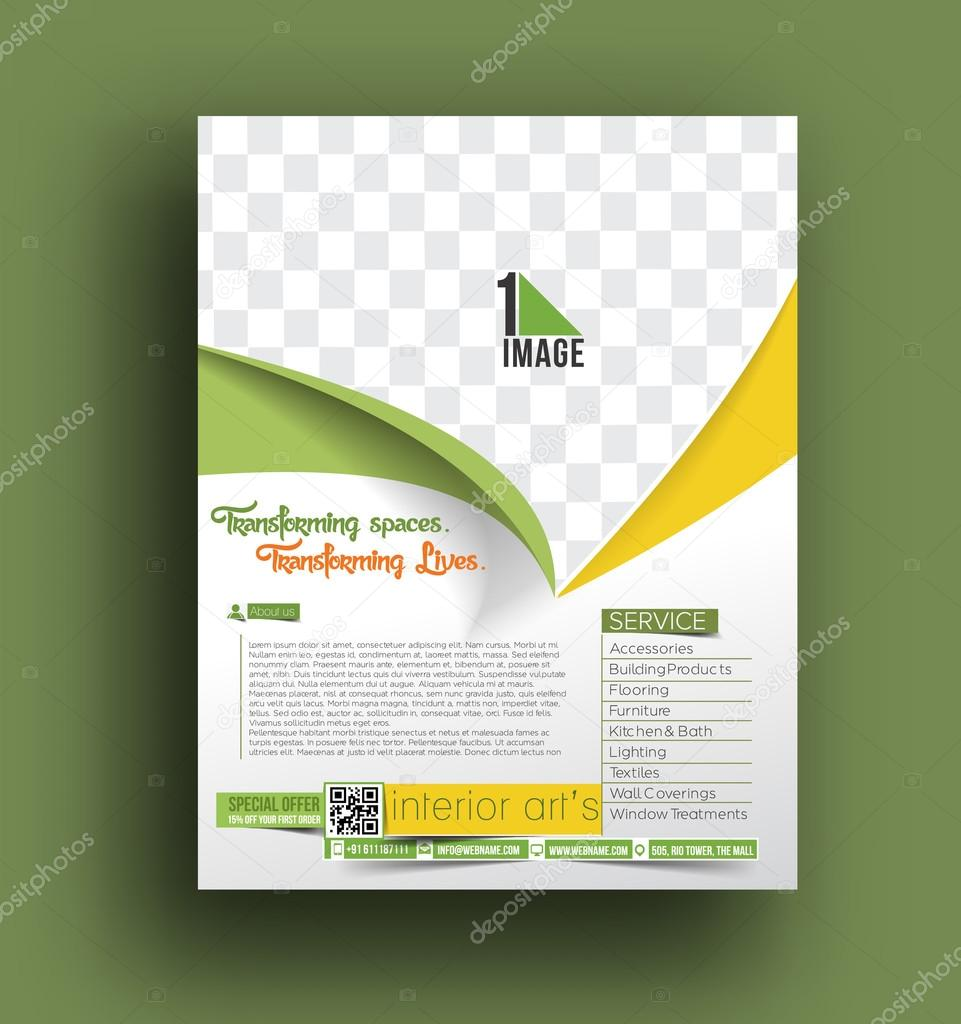 Modelo de panfleto de decorador de interiores vetores de - Decorador de interiores barato ...