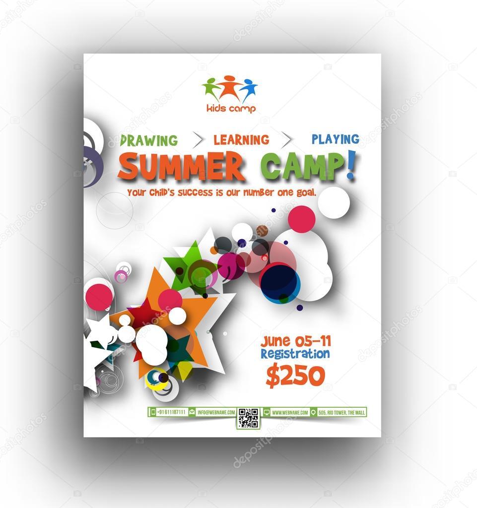 Summer Camp Flyer & Poster Template — Stock Vector © redshinestudio ...