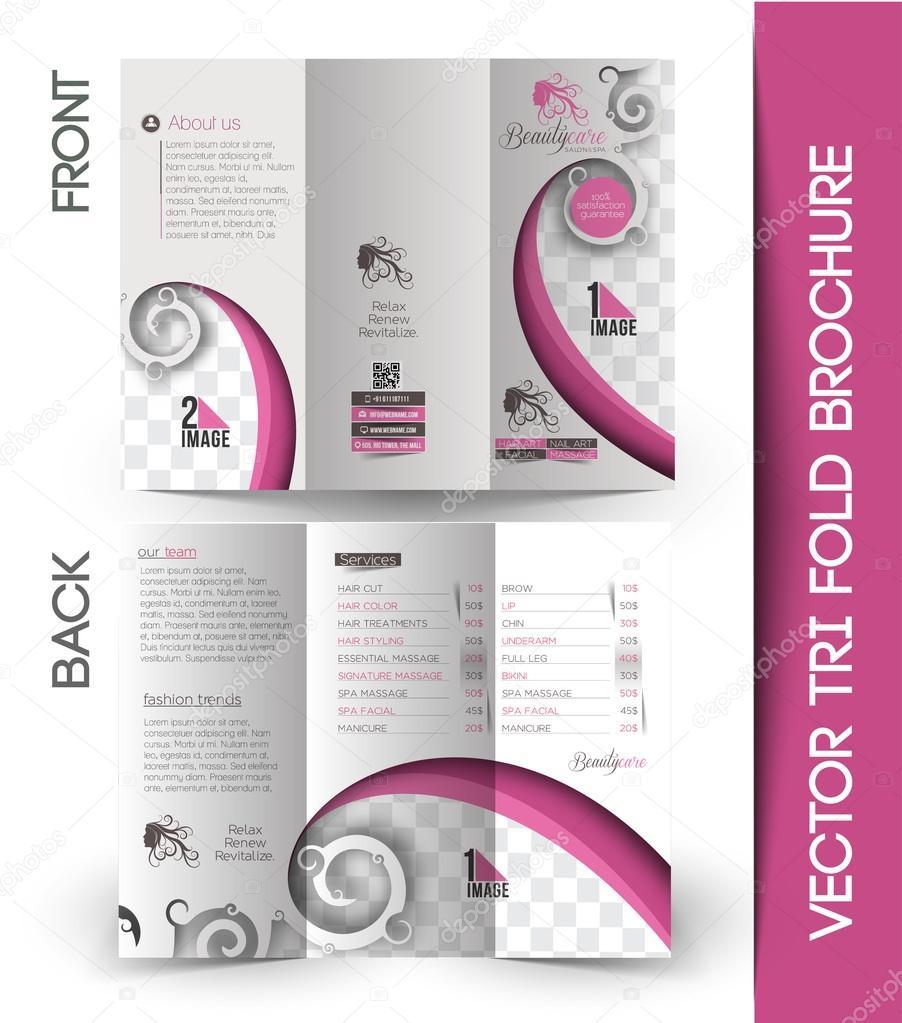 beauty care salon tri fold mock up brochure design vector by redshinestudio
