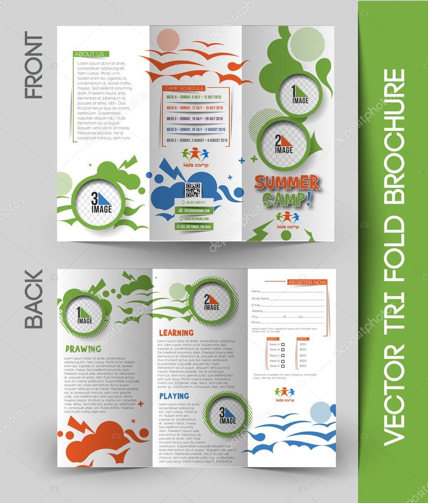 summer camp brochure template - summer camp tri fold brochure stock vector