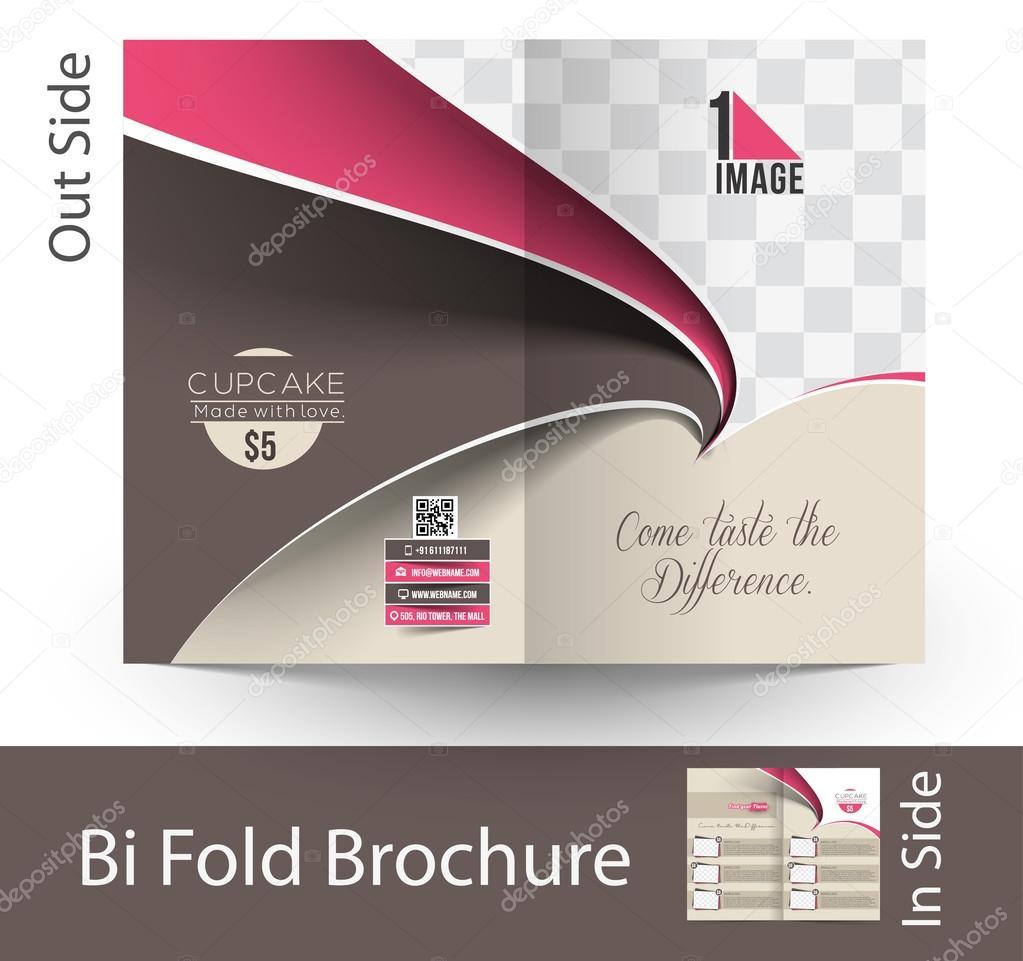 cup cake shop bi fold brochure stock vector redshinestudio 68175911
