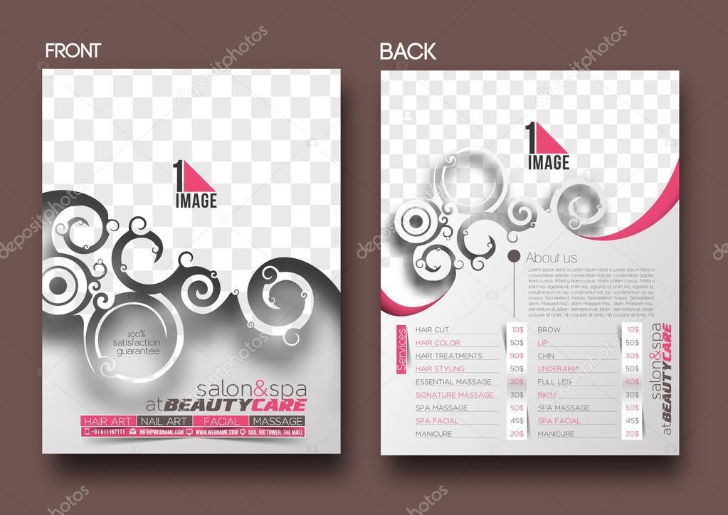 Suficiente Folheto de cuidados & salão de beleza — Vetores de Stock  NA91