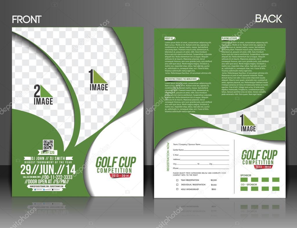 Golf Tournament Front U0026 Back Flyer Template U2014 Vector By Redshinestudio