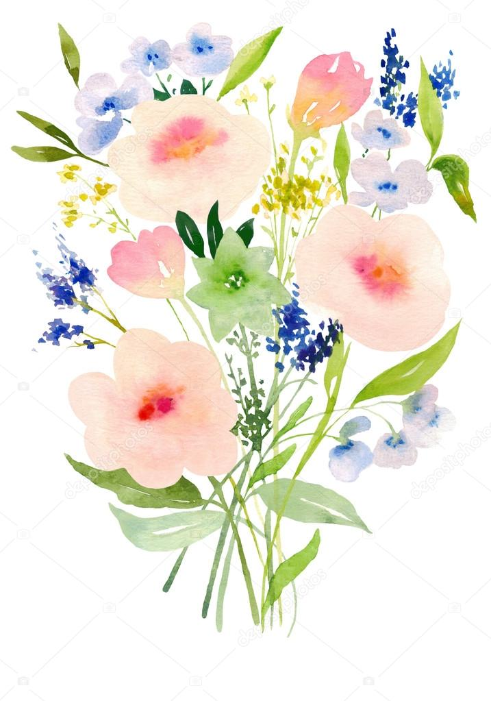 Watercolor flowers composition, hand painted