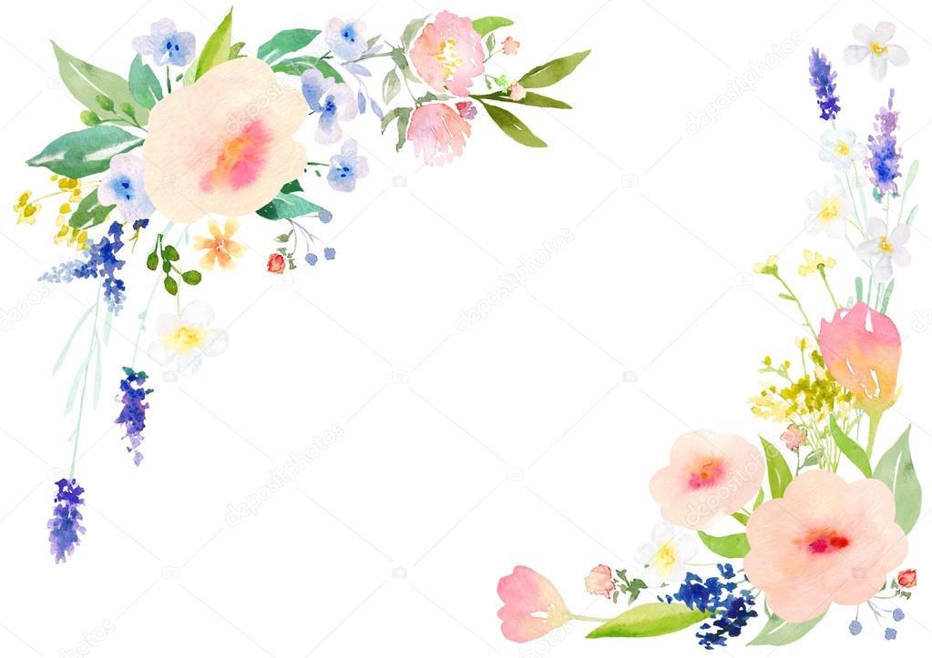 watercolor flowers card template stock photo yaskii 109948712