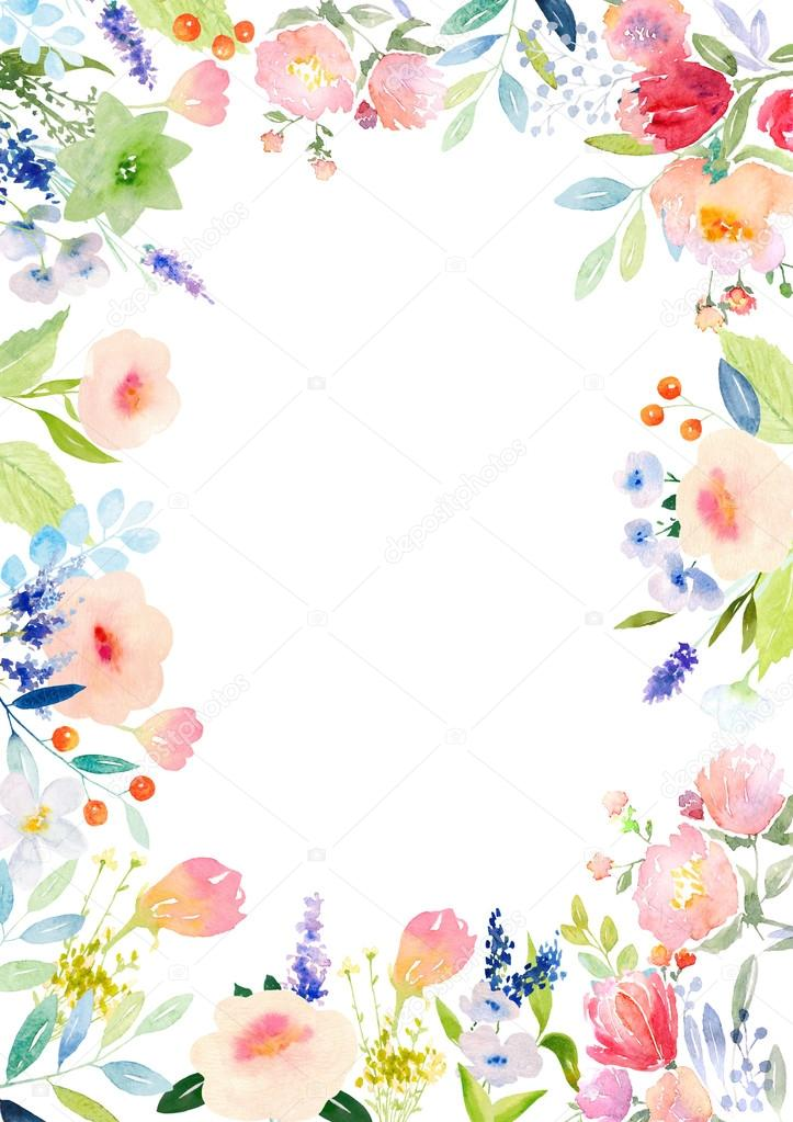 Watercolor flowers card template