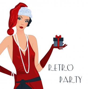 Retro flappper christmas girl