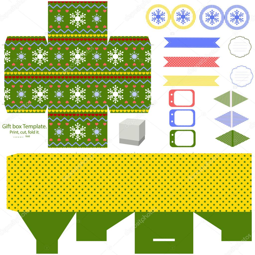 christmas gift box template stock vector
