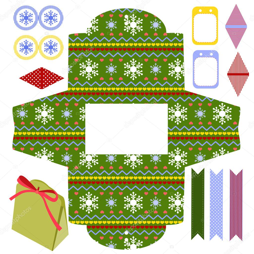 favor gift product box die cut christmas festive pattern empty label and party decoration items designer template vector by yaskii