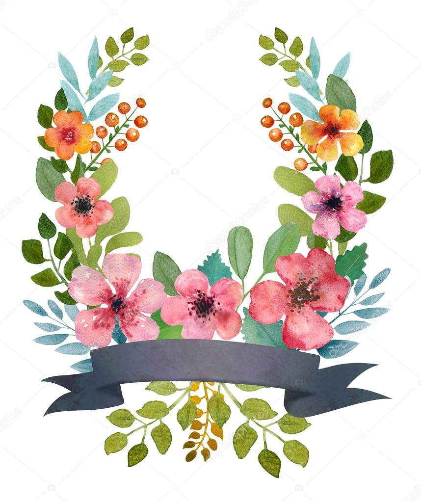 Watercolor floral wreath.