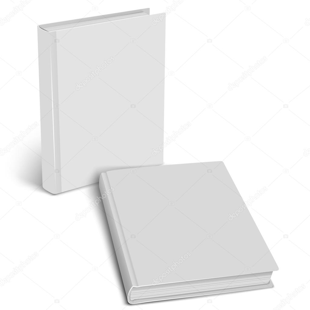 White empty cover closed book mock up on a white background. Vertical and horisontal view. Vector illustration. Product mockup. Vector EPS10 stock vector
