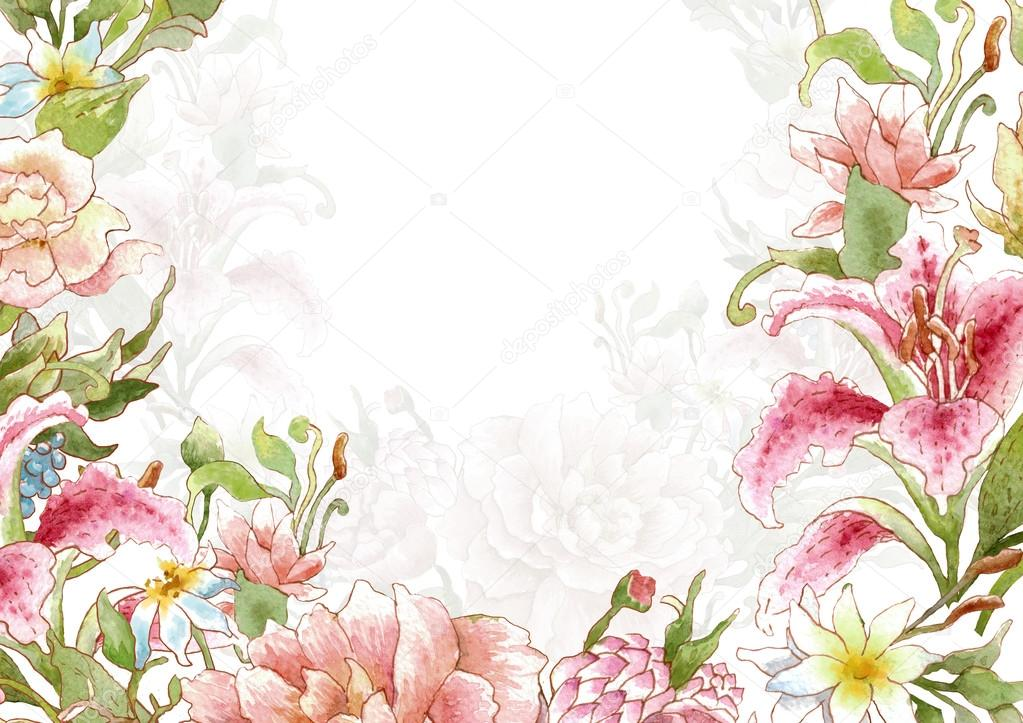 watercolor floral card template stock photo