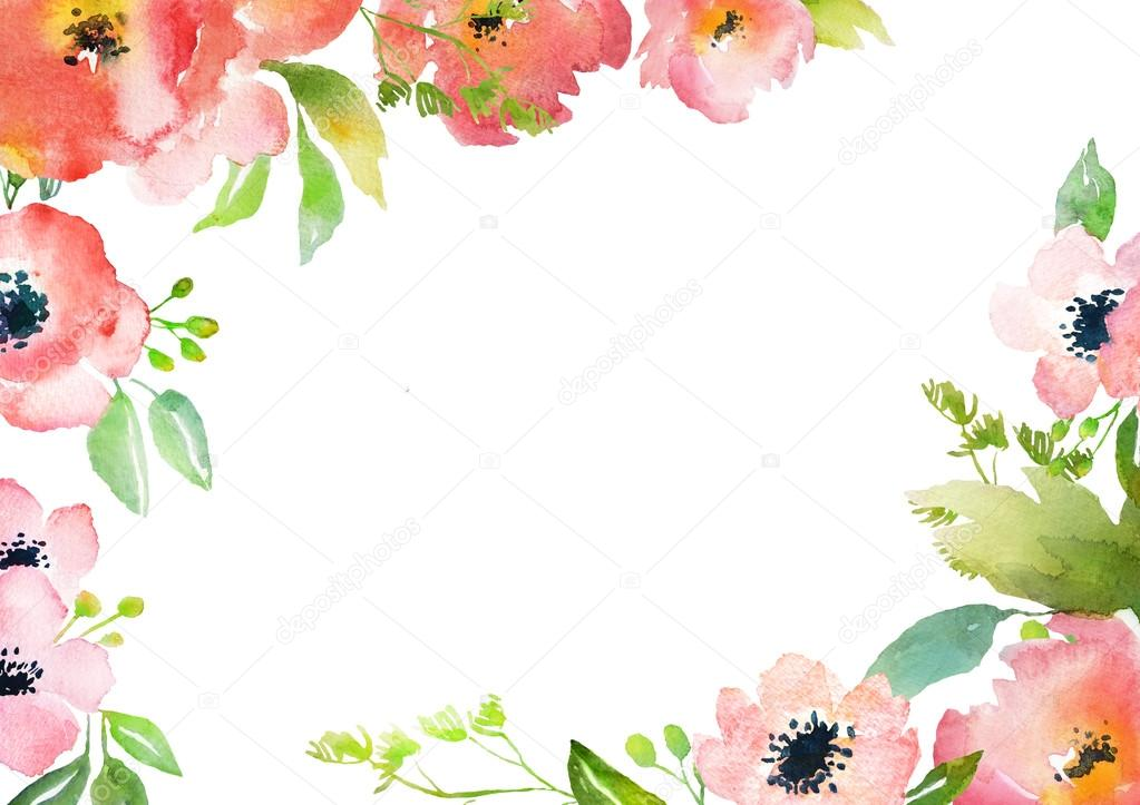 Watercolor roses card template