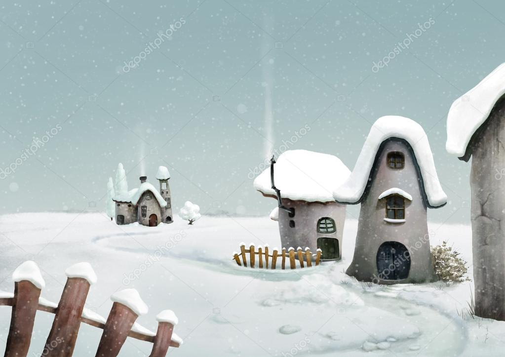 Winter country village. Fairy landscape