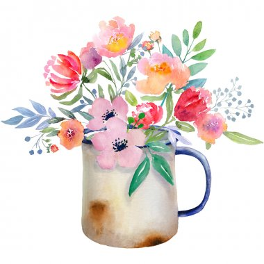 Watercolor jug with flowers