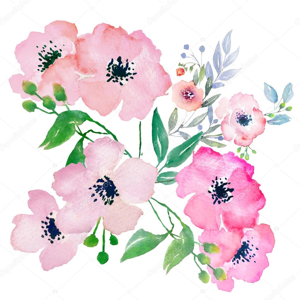 Watercolor flowers composition