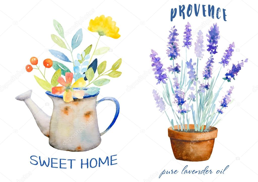 Watercolor botanical logos