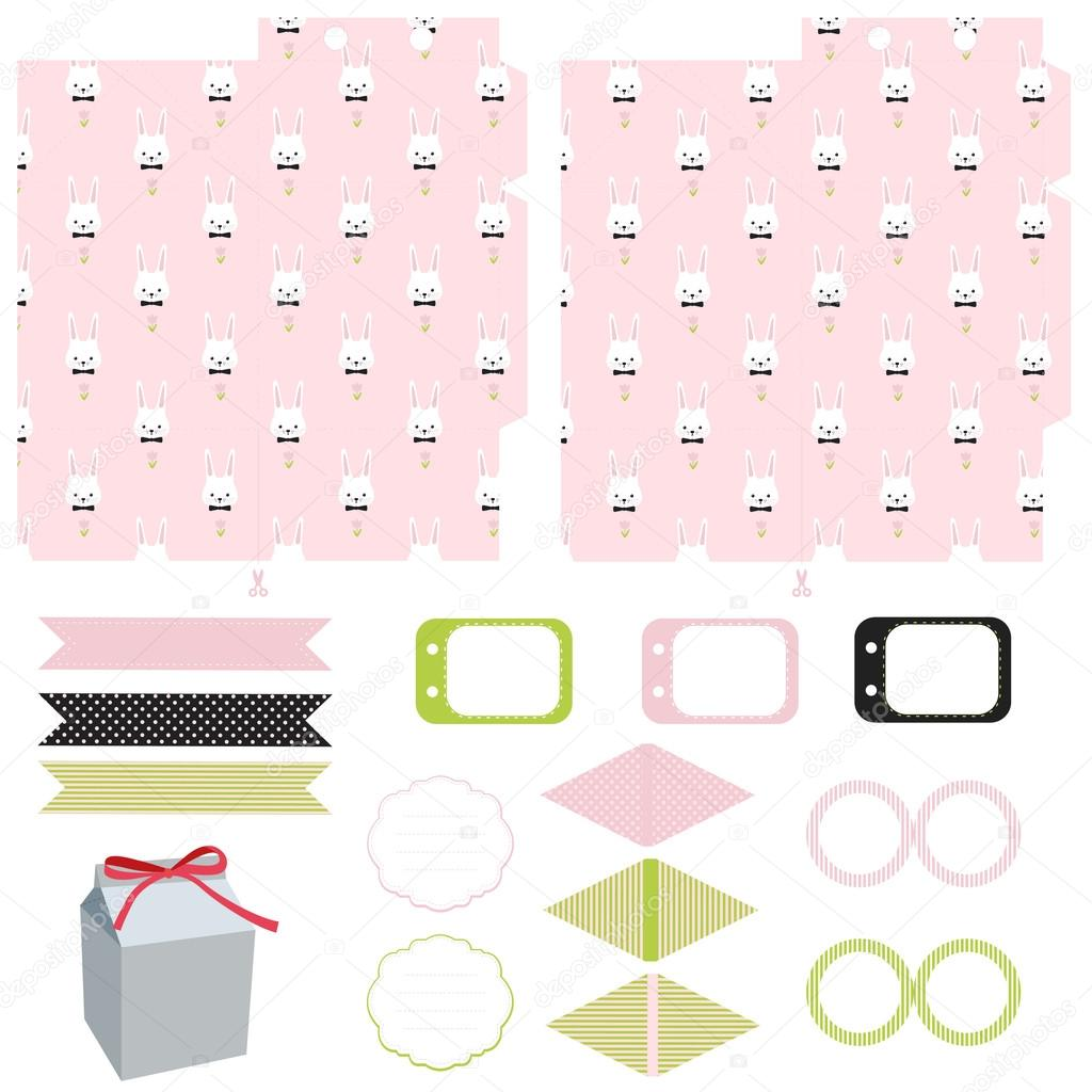 Gift box template easter party set stock vector yaskii 99377586 gift box template empty labels and cupcake toppers and food tags easter bunny pattern vector by yaskii negle Images