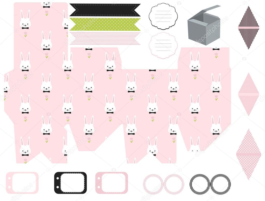 Gift box template easter party set stock vector yaskii 99381758 gift box template empty labels and cupcake toppers and food tags easter bunny pattern vector by yaskii negle Image collections