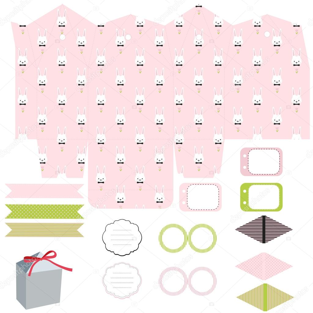 Gift box template easter party set stock vector yaskii 99383478 gift box template empty labels and cupcake toppers and food tags easter bunny pattern vector by yaskii negle Image collections