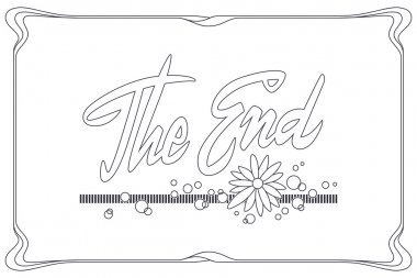 Stock illustration. Vector ornamental movie ending typography