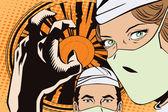 Fotografie People in retro style pop art and vintage advertising. The doctors in the operating room