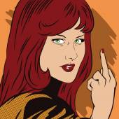 Fotografie Stock illustration. People in retro style pop art and vintage advertising. Girl shows rude gesture.