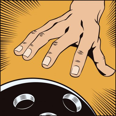 Stock illustration. Style of pop art and old comics. Hand with a bowling ball
