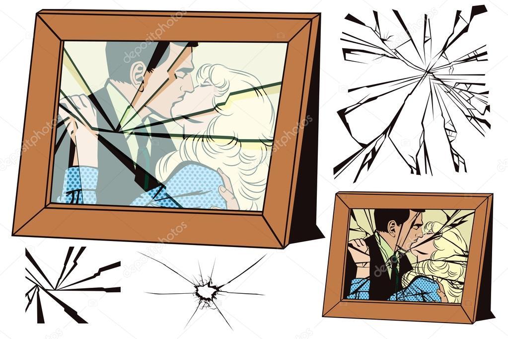 Marco roto y efectos de cristales rotos — Vector de stock © bomg11 ...