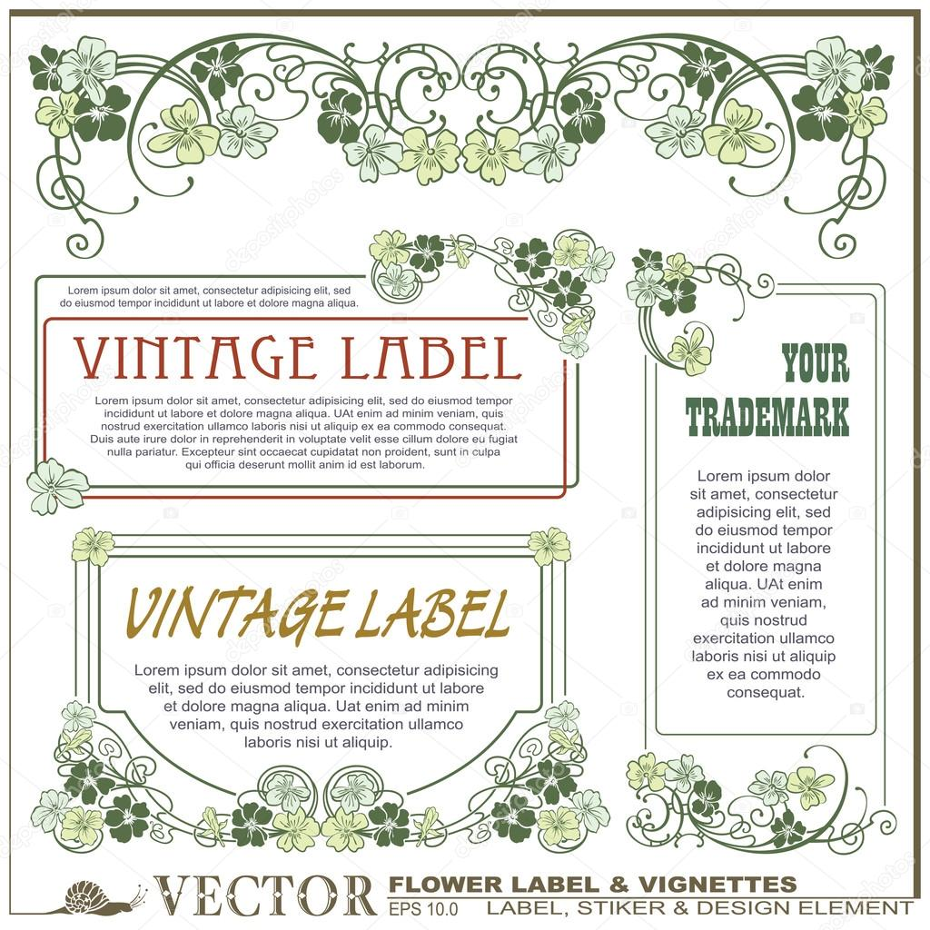 Vector vintage flower labels on different versions