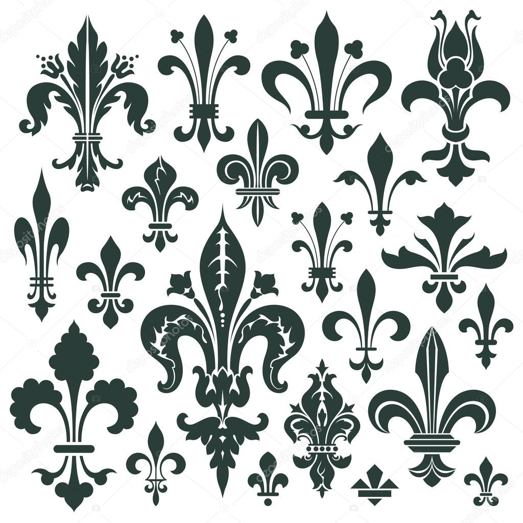 Vector set heraldic lily for decoration and design