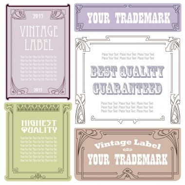 Vector vintage style labels and tags on different versions