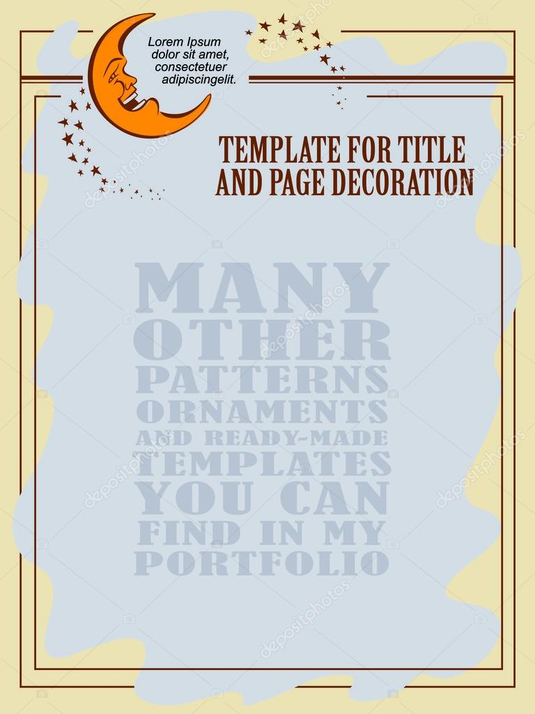 Vector template flayer or invitations. Cheerful moon and stars.