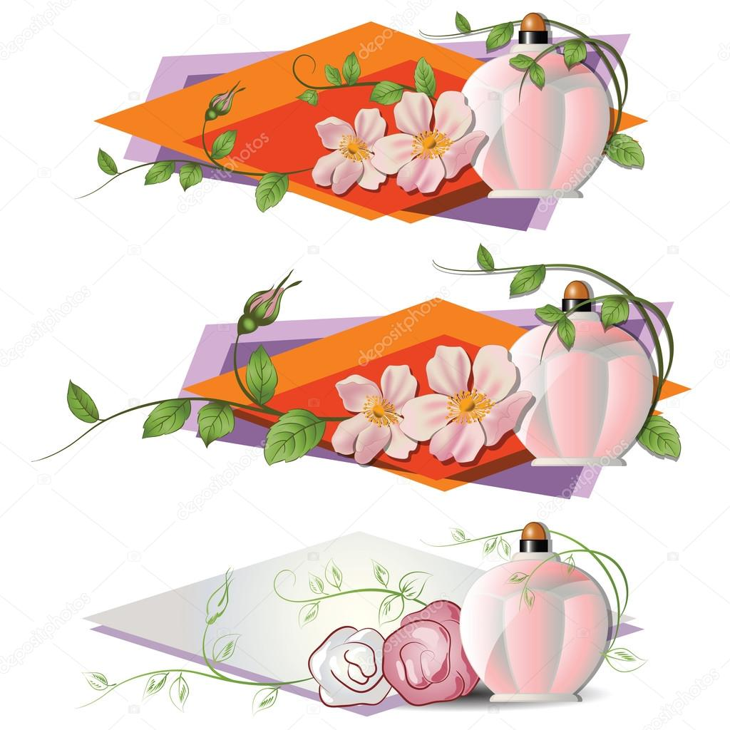 Vector romantic vignette with flowers and a perfume.