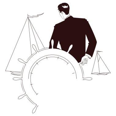 Vector vignette. Captain at helm of yacht