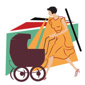 Fotografie Vector illustration. Girl with a stroller for a walk