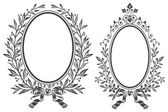 Fotografie Vector sketch - Frames, braided laurel and flowers.
