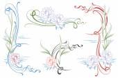 Fotografia Vignette di vettore delle ninfee per il vostro disegno funziona