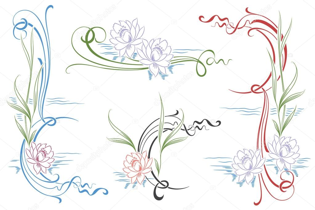 Vector vignettes of water lilies for your design works