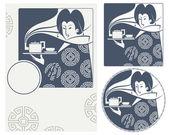 Vektorové ilustrace. Japonská dívka nese čaj na čajový obřad