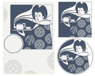 Vector illustration. Japanese girl bears tea on the tea ceremony