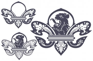 vector template tattoo heraldic lily with a lion's head in the c