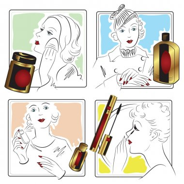 Vector stock. Infographics. Beautiful girl caring for her face.