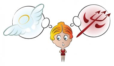 Vector illustration. Funny girl with different emotions. The cho